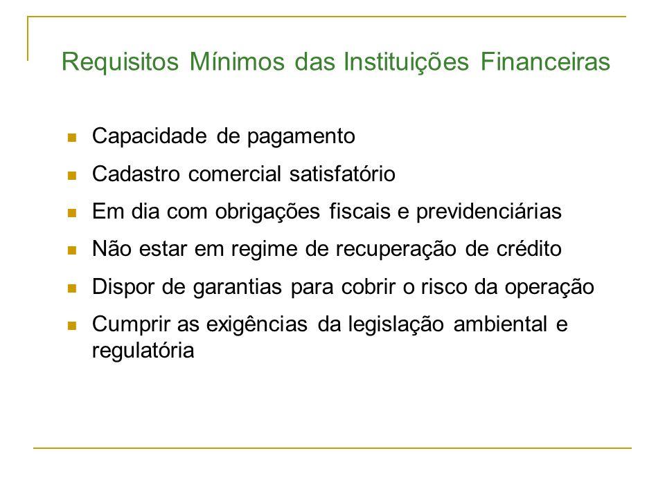 Requisitos Mínimos das Instituições Financeiras