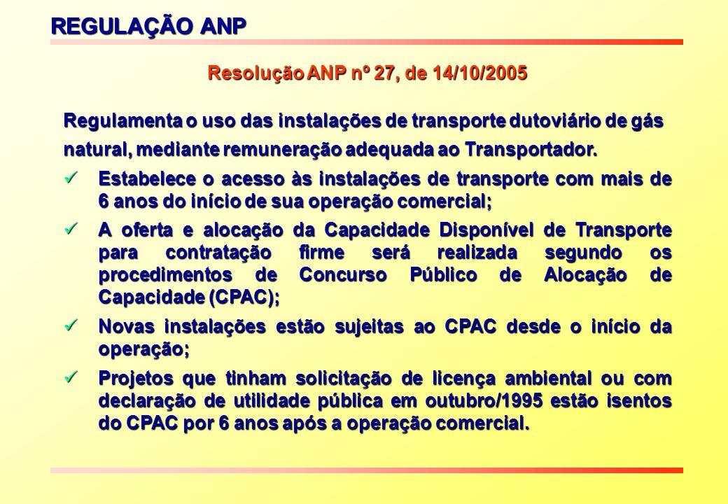 REGULAÇÃO ANP Resolução ANP nº 27, de 14/10/2005