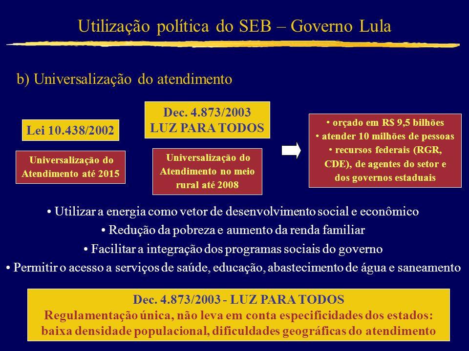 Utilização política do SEB – Governo Lula