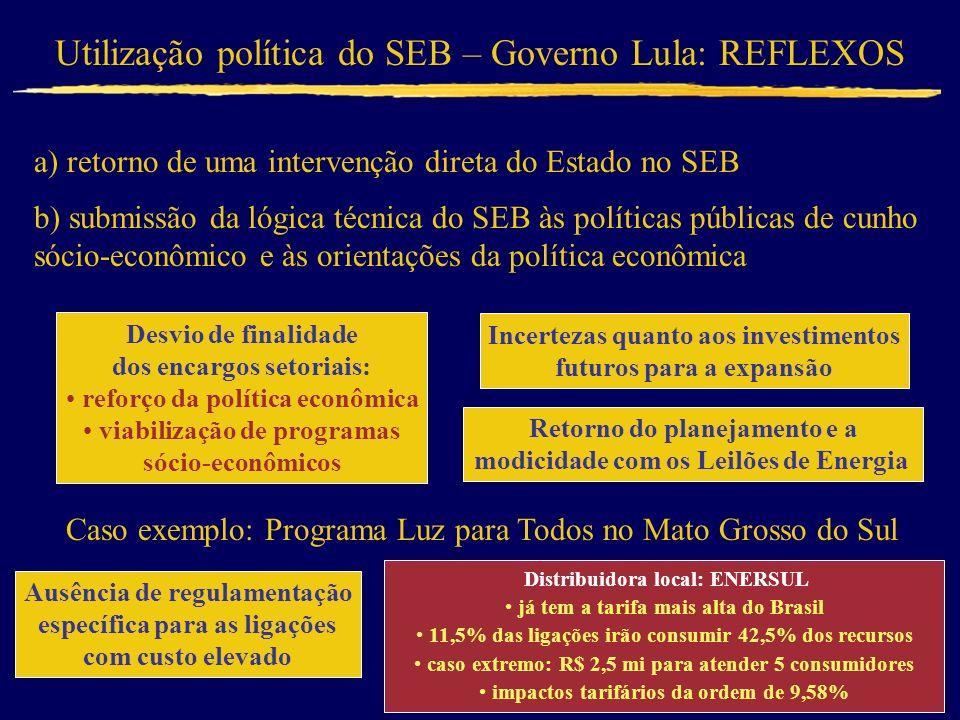 Utilização política do SEB – Governo Lula: REFLEXOS