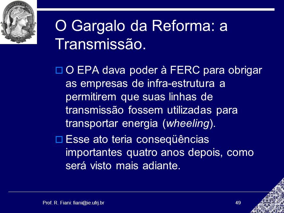 O Gargalo da Reforma: a Transmissão.