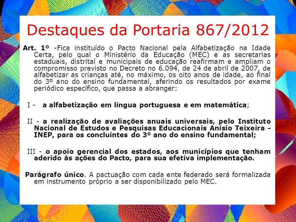 Destaques da Portaria 867/2012