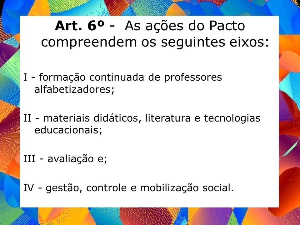 Art. 6º - As ações do Pacto compreendem os seguintes eixos: