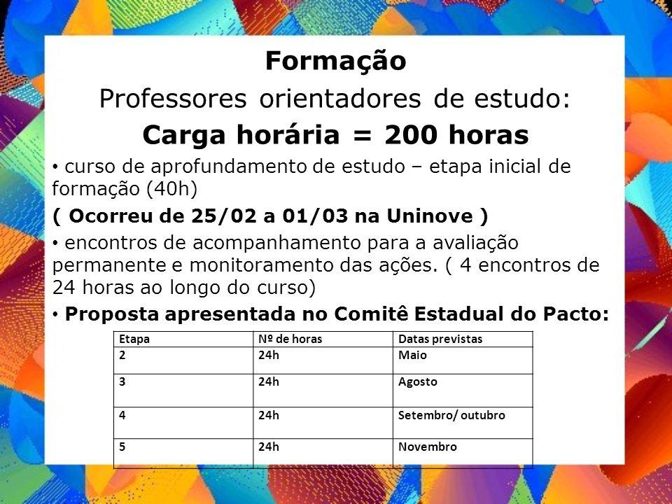 Professores orientadores de estudo: