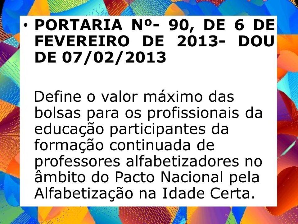 PORTARIA Nº- 90, DE 6 DE FEVEREIRO DE 2013- DOU DE 07/02/2013
