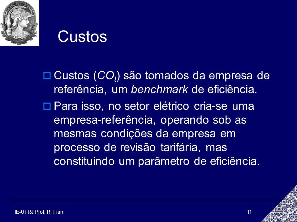 Custos Custos (COt) são tomados da empresa de referência, um benchmark de eficiência.