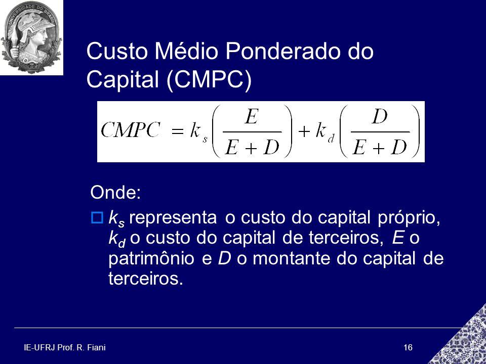 Custo Médio Ponderado do Capital (CMPC)