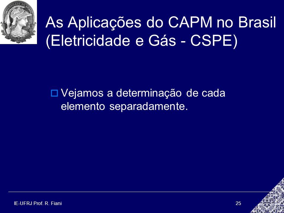 As Aplicações do CAPM no Brasil (Eletricidade e Gás - CSPE)