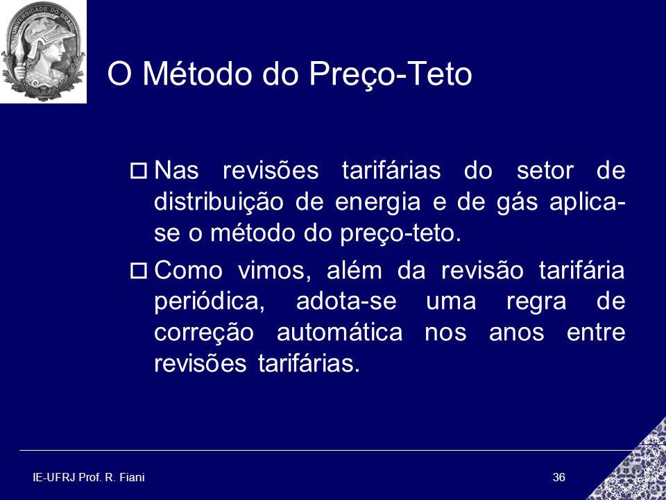 O Método do Preço-Teto Nas revisões tarifárias do setor de distribuição de energia e de gás aplica-se o método do preço-teto.