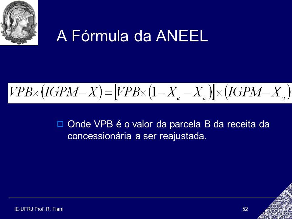 A Fórmula da ANEEL Onde VPB é o valor da parcela B da receita da concessionária a ser reajustada.
