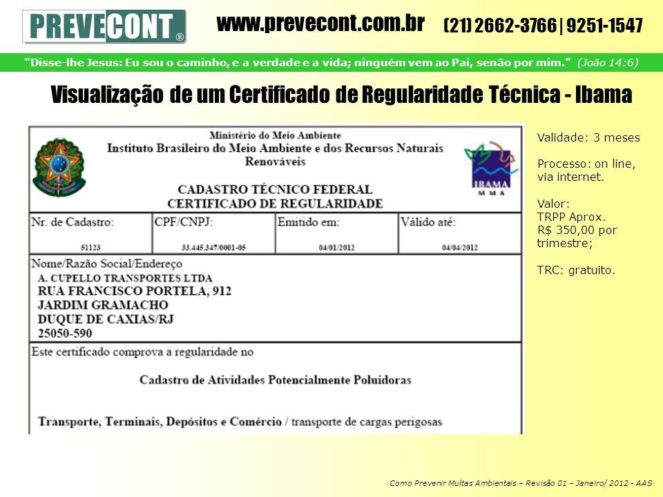 Visualização de um Certificado de Regularidade Técnica - Ibama
