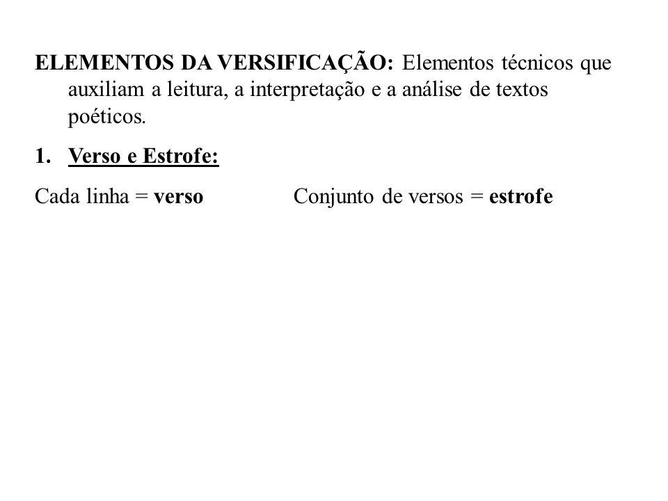 ELEMENTOS DA VERSIFICAÇÃO: Elementos técnicos que auxiliam a leitura, a interpretação e a análise de textos poéticos.