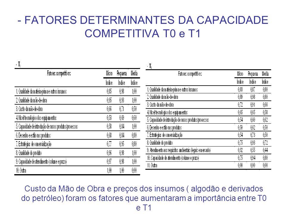- FATORES DETERMINANTES DA CAPACIDADE COMPETITIVA T0 e T1