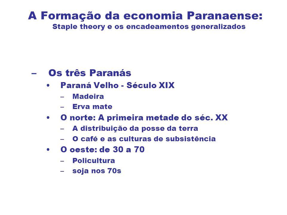 A Formação da economia Paranaense: Staple theory e os encadeamentos generalizados