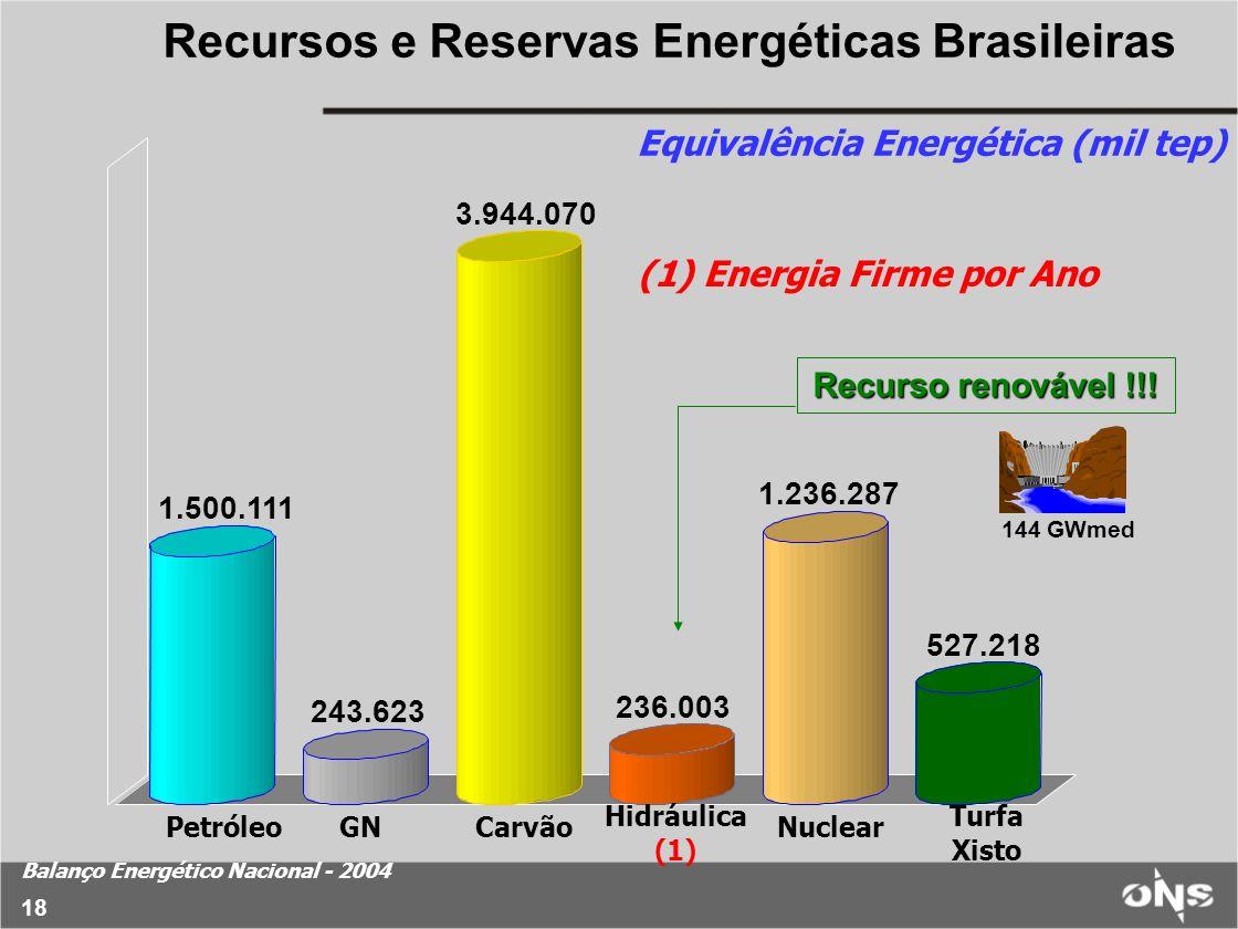 Equivalência Energética (mil tep) Balanço Energético Nacional - 2004