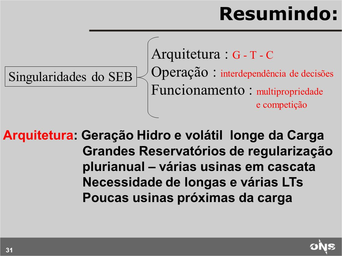 Resumindo: Arquitetura : G - T - C
