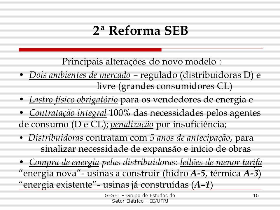 2ª Reforma SEB Principais alterações do novo modelo :