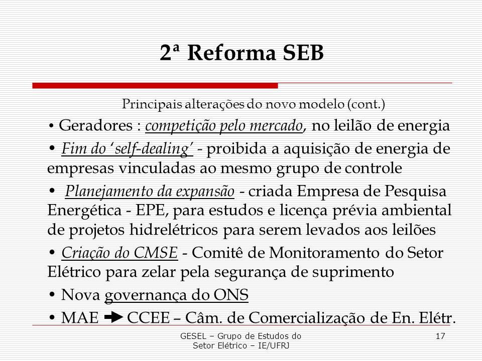 2ª Reforma SEBPrincipais alterações do novo modelo (cont.) Geradores : competição pelo mercado, no leilão de energia.