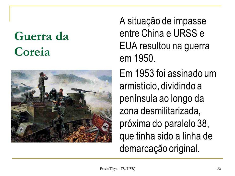 Guerra da CoreiaA situação de impasse entre China e URSS e EUA resultou na guerra em 1950.