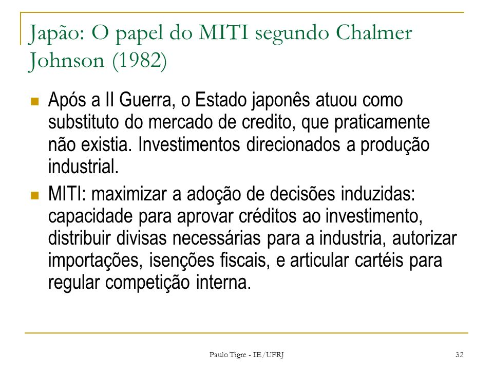 Japão: O papel do MITI segundo Chalmer Johnson (1982)