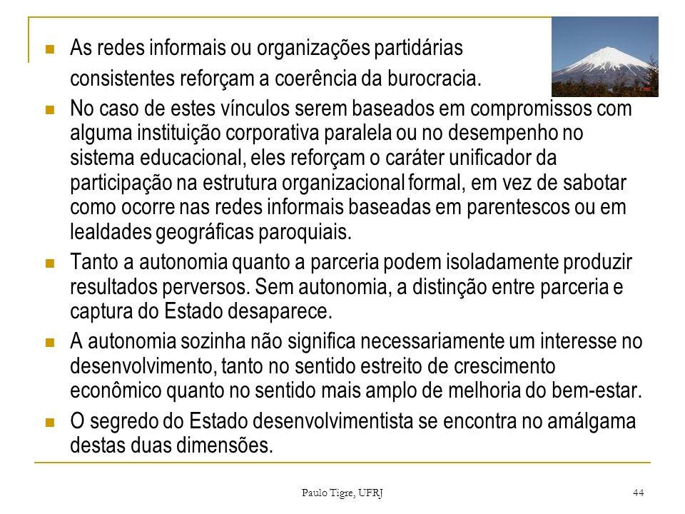 As redes informais ou organizações partidárias