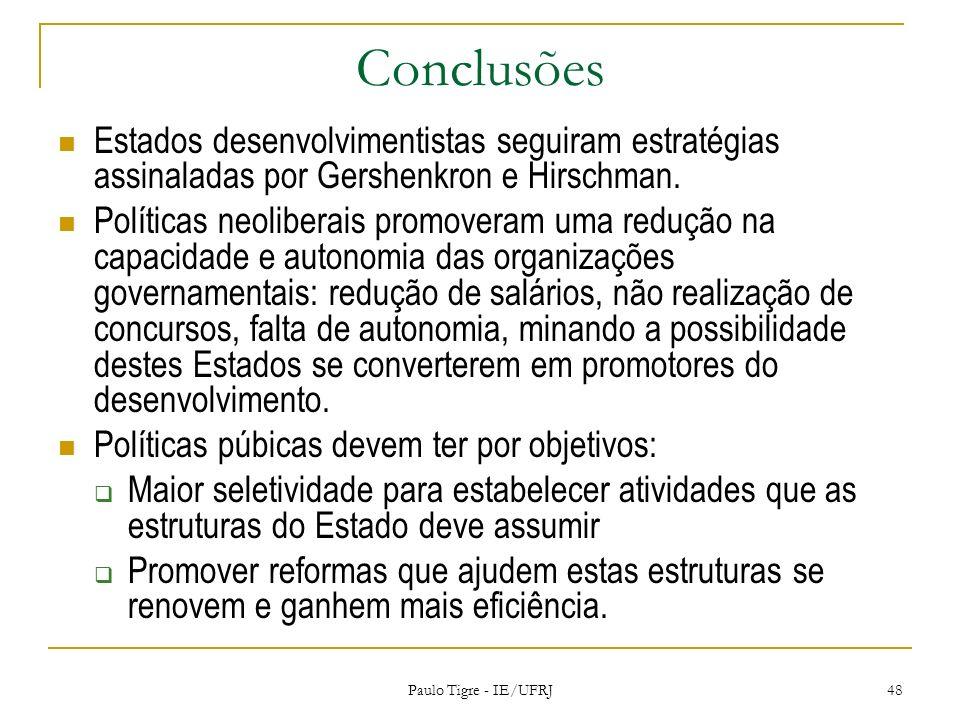 ConclusõesEstados desenvolvimentistas seguiram estratégias assinaladas por Gershenkron e Hirschman.