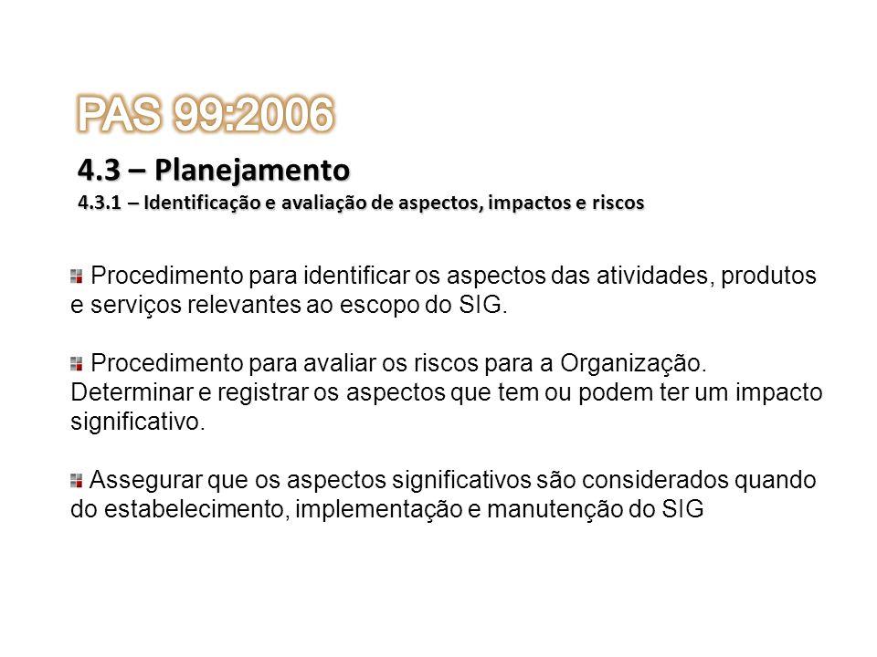 PAS 99:20064.3 – Planejamento. 4.3.1 – Identificação e avaliação de aspectos, impactos e riscos.
