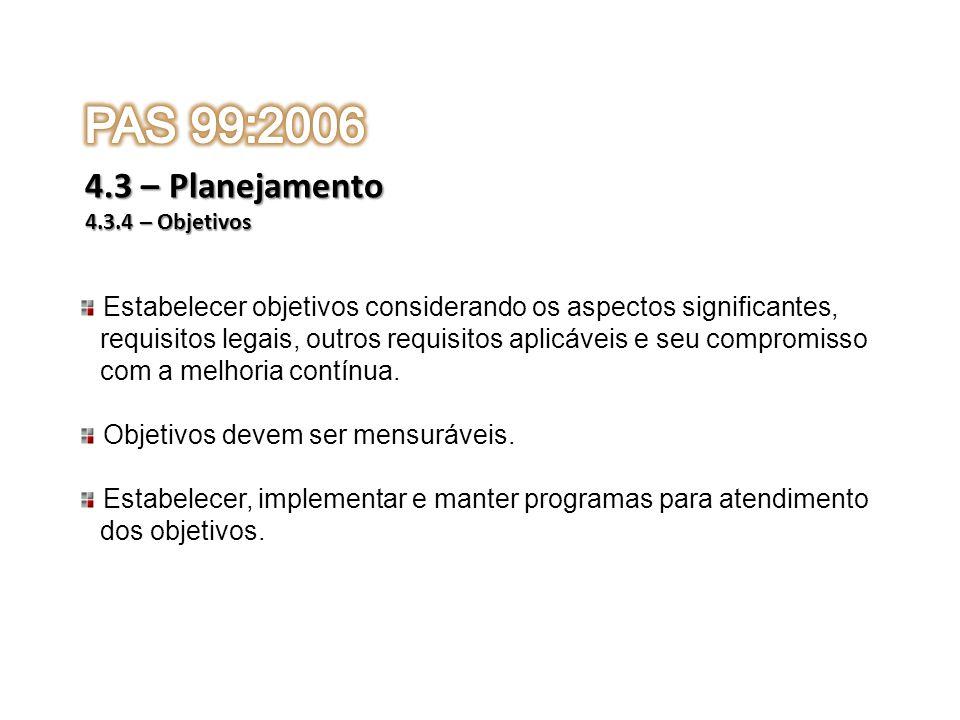 PAS 99:2006 4.3 – Planejamento. 4.3.4 – Objetivos. Estabelecer objetivos considerando os aspectos significantes,