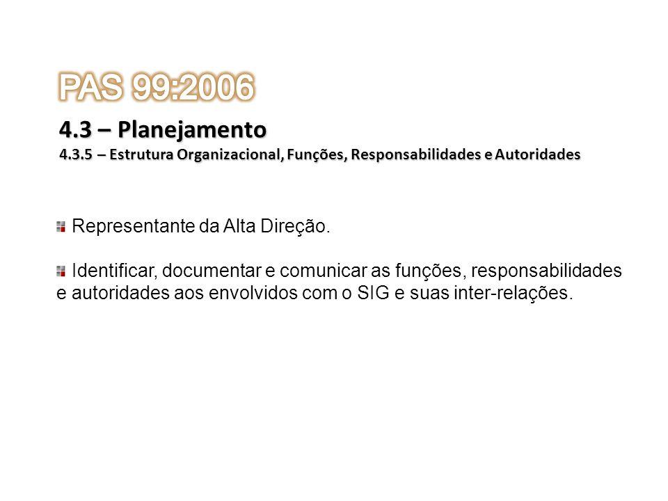 PAS 99:2006 4.3 – Planejamento Representante da Alta Direção.