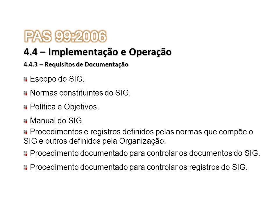 PAS 99:2006 4.4 – Implementação e Operação Escopo do SIG.