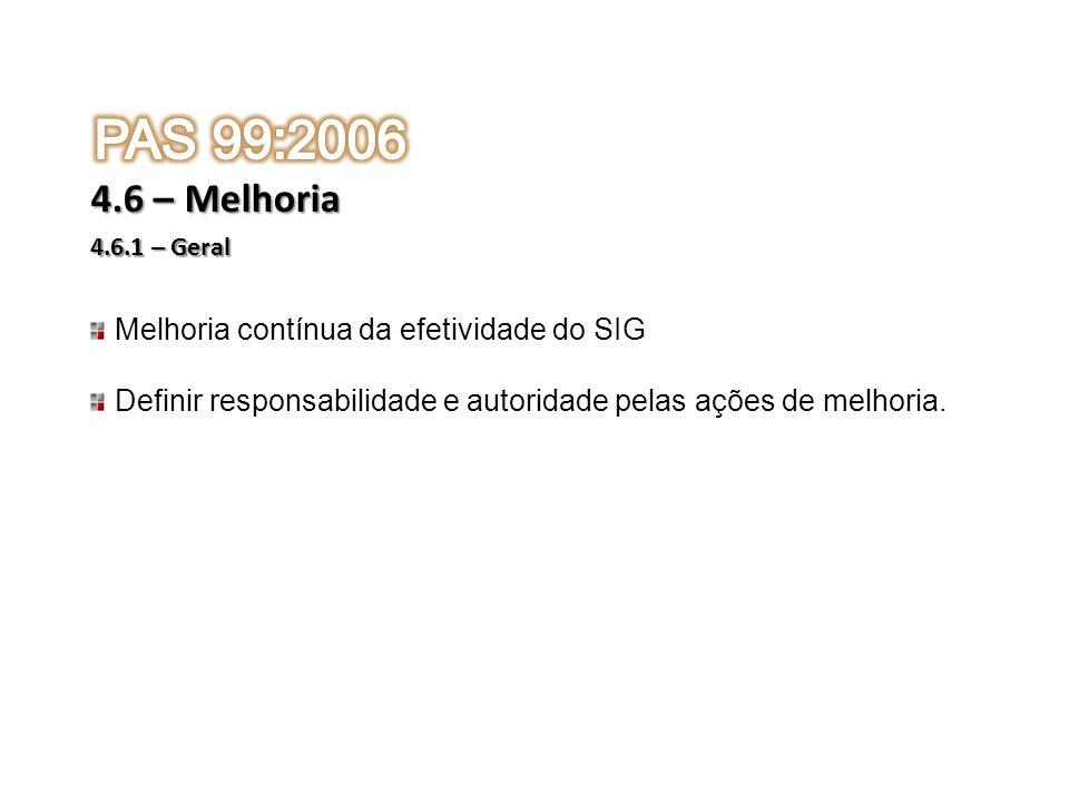 PAS 99:2006 4.6 – Melhoria Melhoria contínua da efetividade do SIG