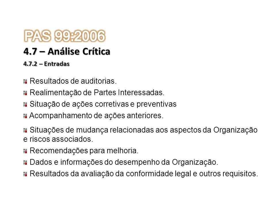 PAS 99:2006 4.7 – Análise Crítica Resultados de auditorias.