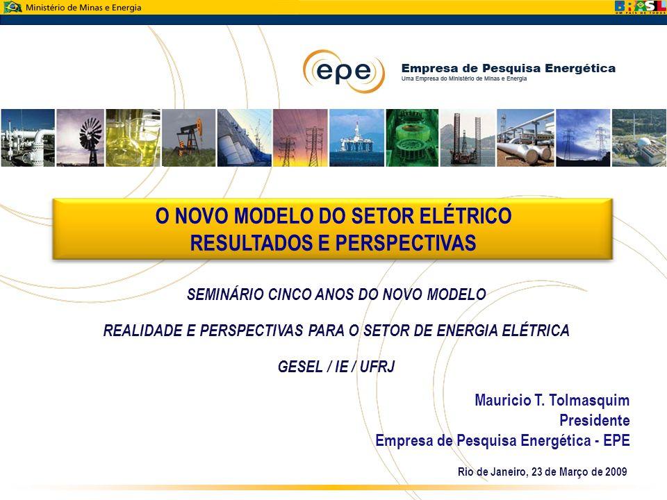 O NOVO MODELO DO SETOR ELÉTRICO RESULTADOS E PERSPECTIVAS