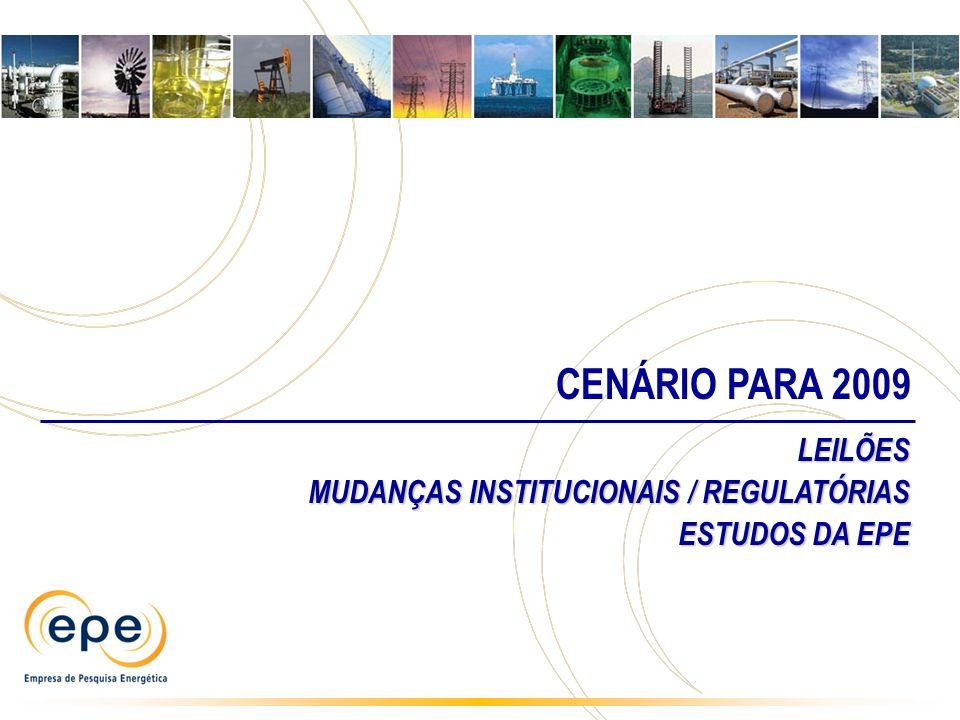 CENÁRIO PARA 2009 LEILÕES MUDANÇAS INSTITUCIONAIS / REGULATÓRIAS
