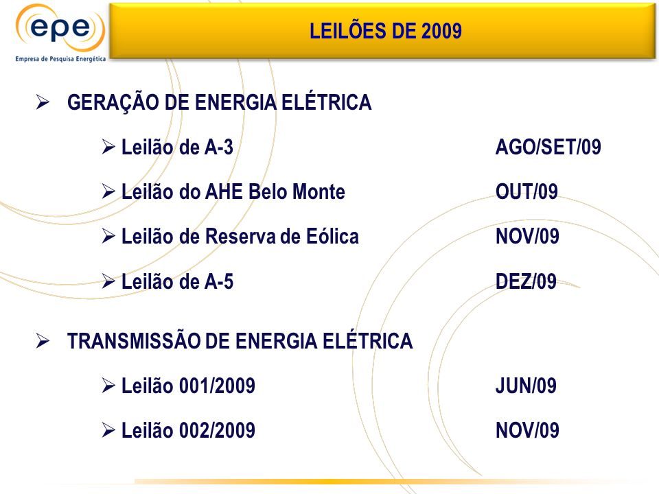 LEILÕES DE 2009 GERAÇÃO DE ENERGIA ELÉTRICA. Leilão de A-3 AGO/SET/09. Leilão do AHE Belo Monte OUT/09.