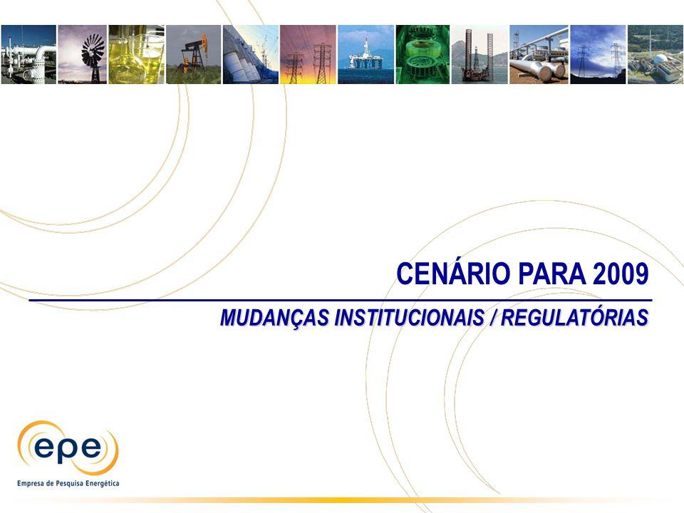 CENÁRIO PARA 2009 MUDANÇAS INSTITUCIONAIS / REGULATÓRIAS