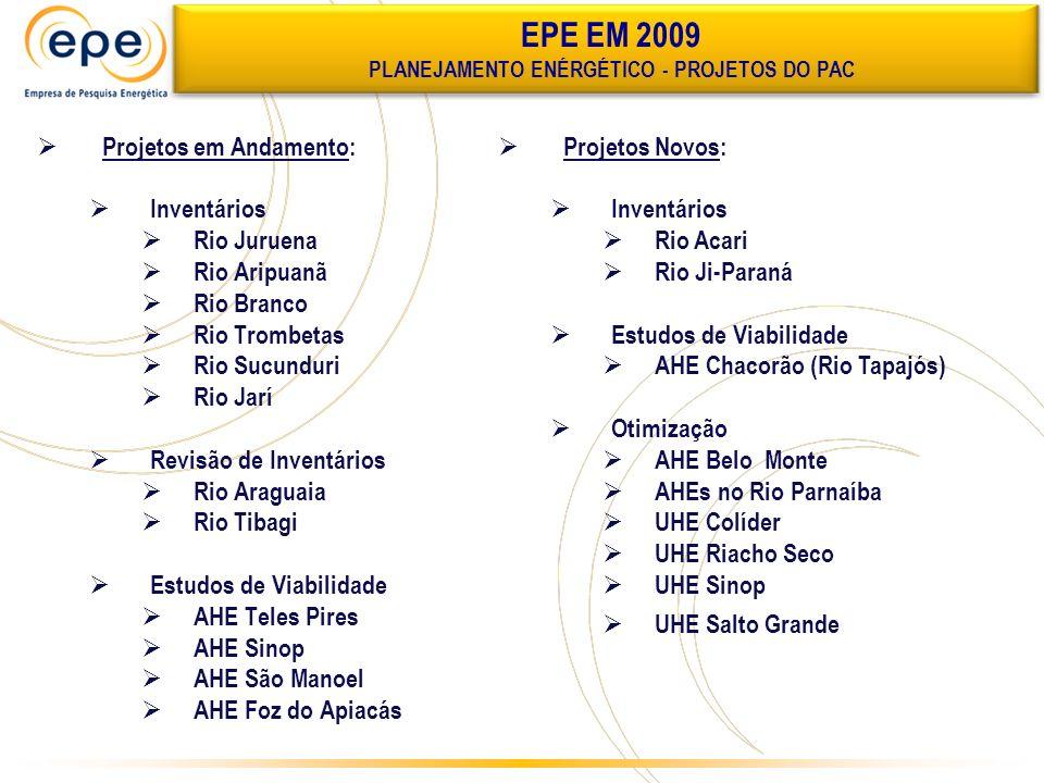 PLANEJAMENTO ENÉRGÉTICO - PROJETOS DO PAC