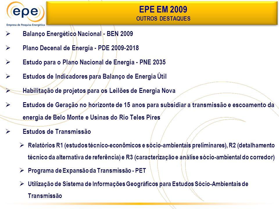 EPE EM 2009 Balanço Energético Nacional - BEN 2009
