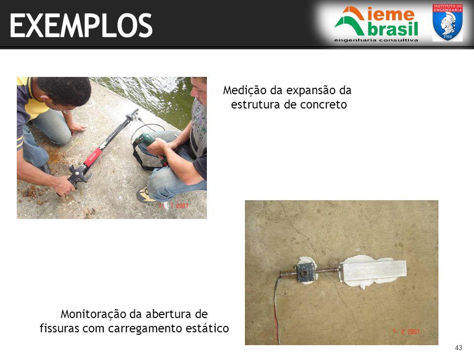EXEMPLOS Medição da expansão da estrutura de concreto