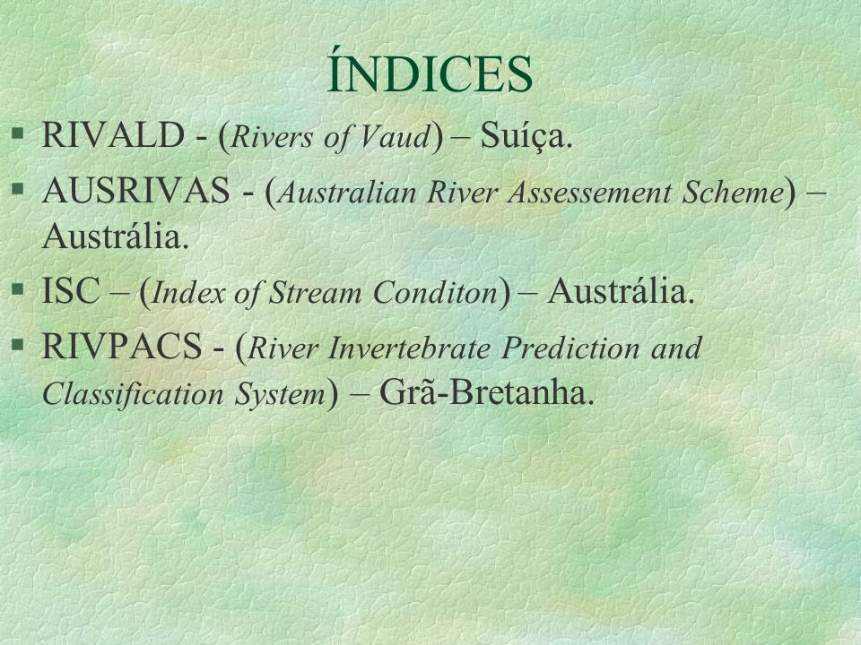 ÍNDICES RIVALD - (Rivers of Vaud) – Suíça.