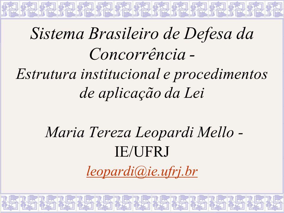 Sistema Brasileiro de Defesa da Concorrência - Estrutura institucional e procedimentos de aplicação da Lei Maria Tereza Leopardi Mello - IE/UFRJ leopardi@ie.ufrj.br