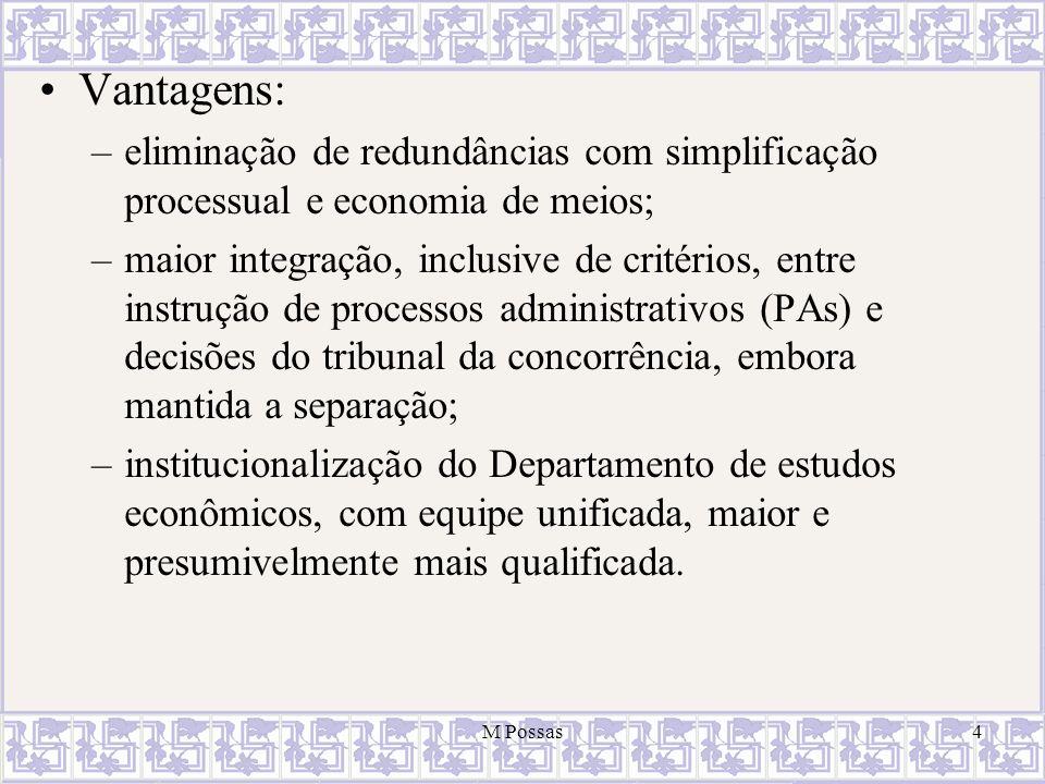 Vantagens: eliminação de redundâncias com simplificação processual e economia de meios;