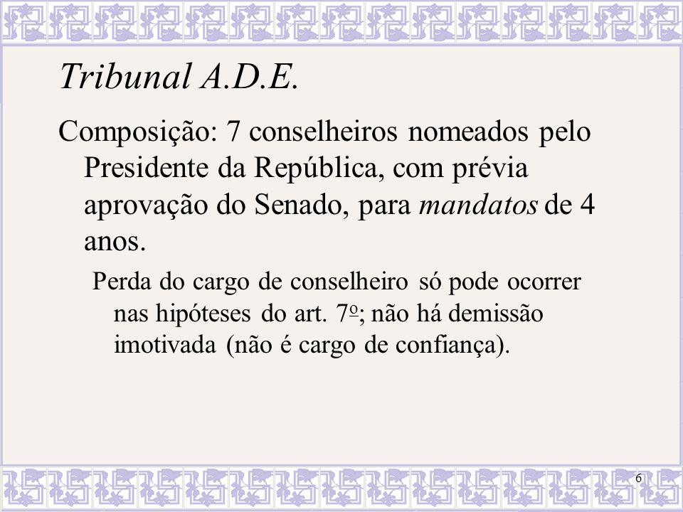 Tribunal A.D.E. Composição: 7 conselheiros nomeados pelo Presidente da República, com prévia aprovação do Senado, para mandatos de 4 anos.