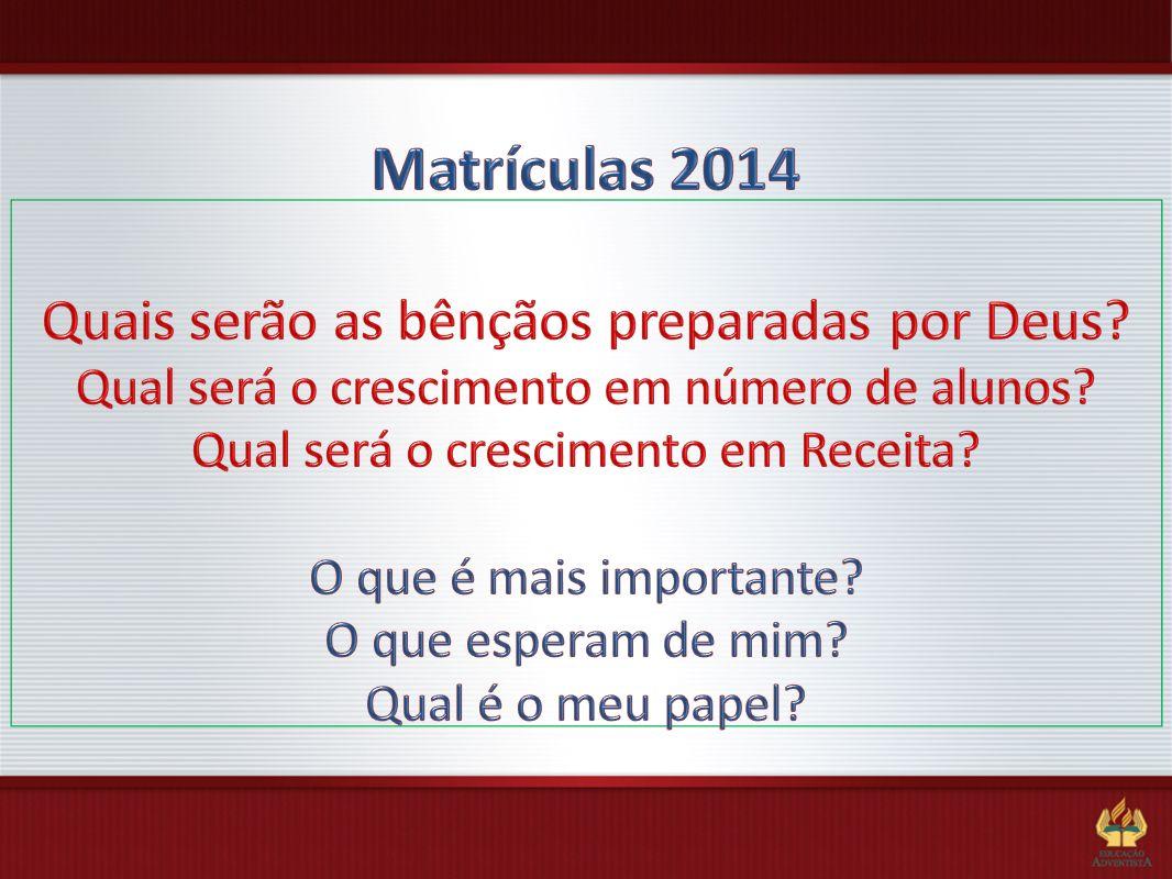 Matrículas 2014 Quais serão as bênçãos preparadas por Deus