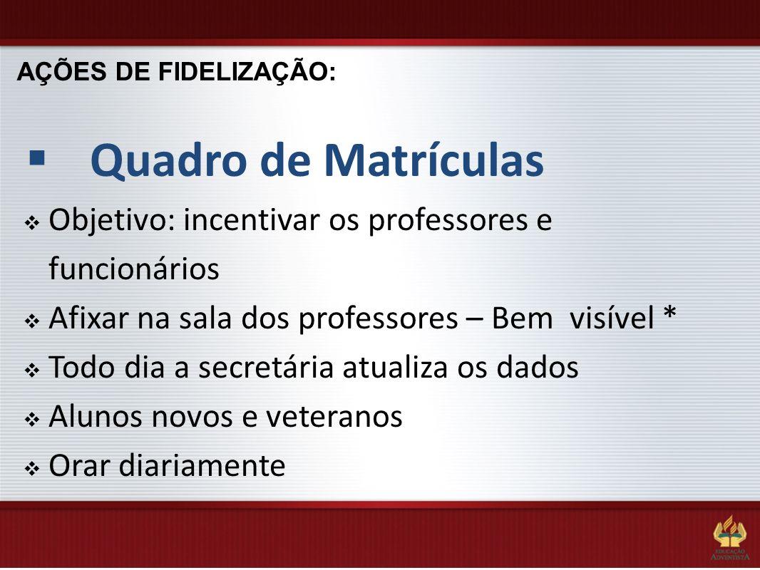 AÇÕES DE FIDELIZAÇÃO: Quadro de Matrículas. Objetivo: incentivar os professores e funcionários. Afixar na sala dos professores – Bem visível *