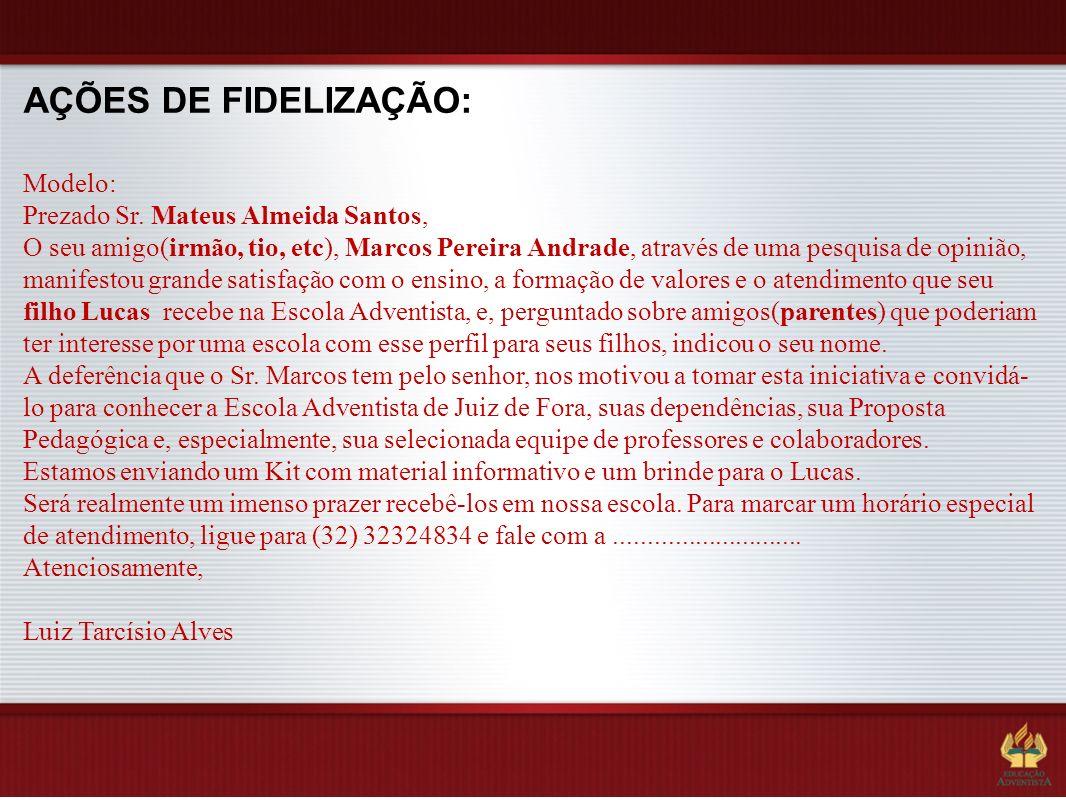AÇÕES DE FIDELIZAÇÃO: Modelo: Prezado Sr. Mateus Almeida Santos,