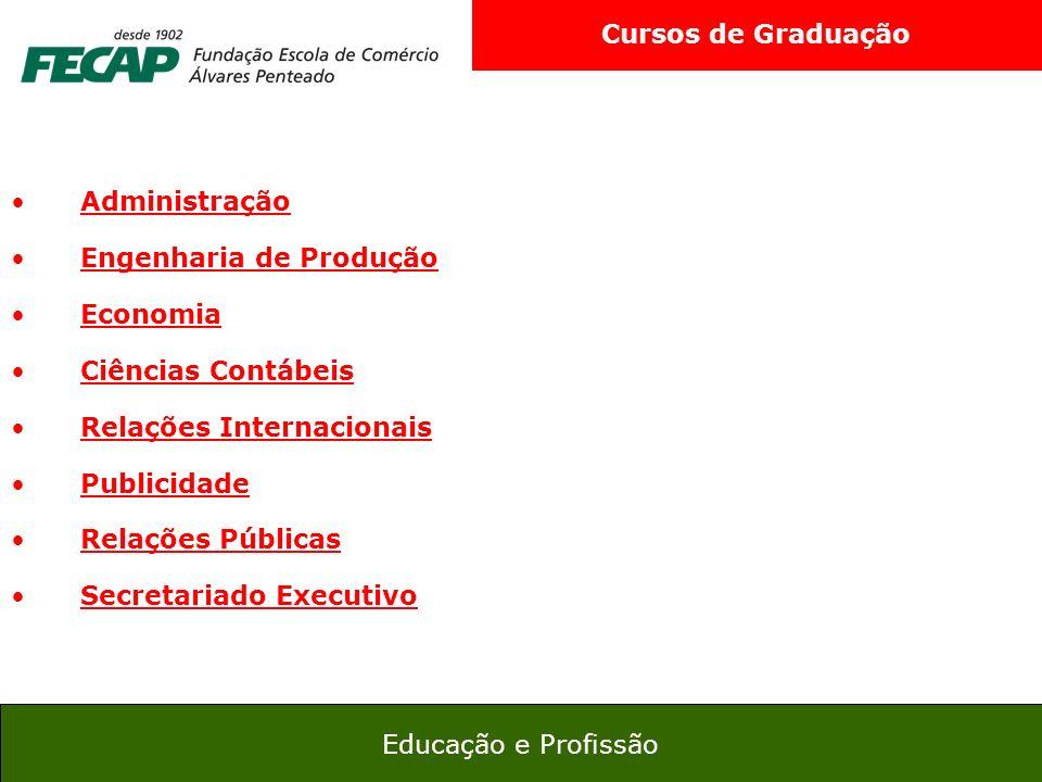 Cursos de Graduação Administração. Engenharia de Produção. Economia. Ciências Contábeis. Relações Internacionais.