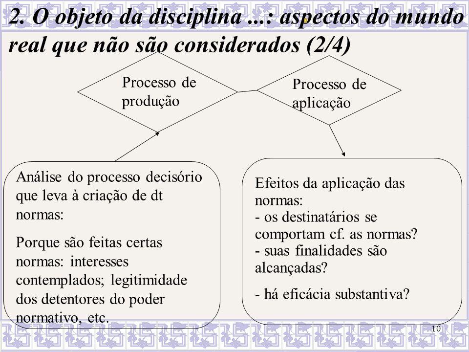 2. O objeto da disciplina ...: aspectos do mundo real que não são considerados (2/4)