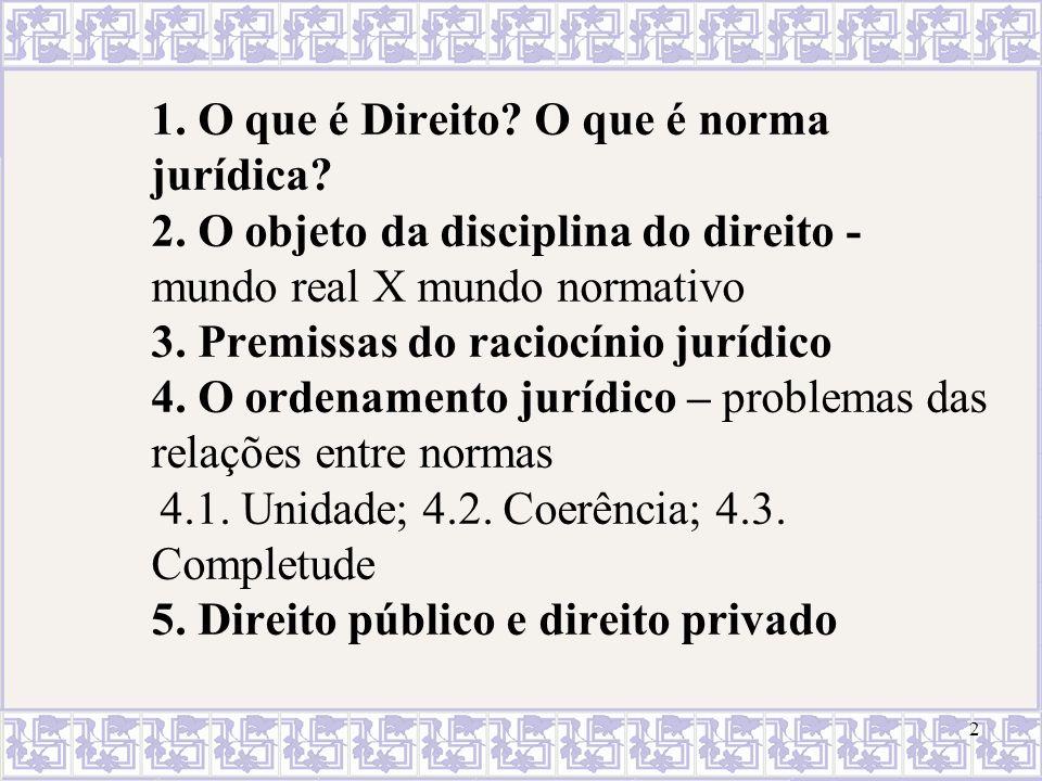 1. O que é Direito. O que é norma jurídica. 2