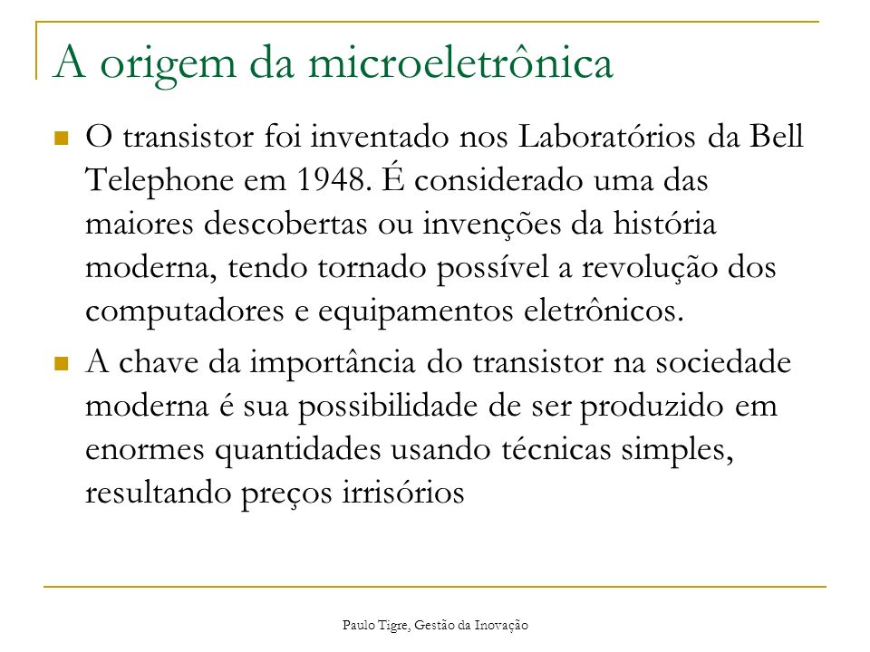 A origem da microeletrônica